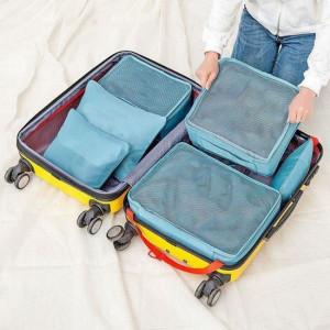 Zestaw organizerów podróżnych w walizce - niebieski