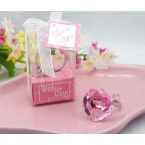 Brelok diamentowy - różowe serce
