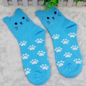 Skarpetki kot - niebieskie
