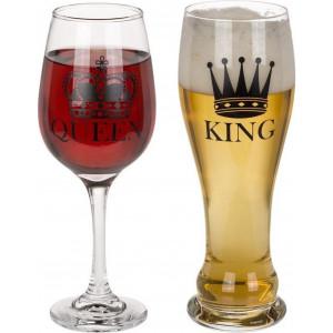 Komplet szklanek - Królowa i Król
