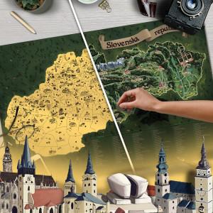 Mapa Zdrapka Słowacji DELUXE XL - złota