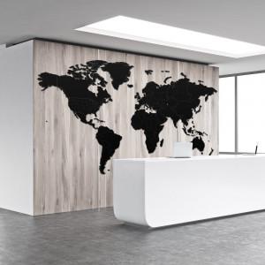 Luksusowa drewniana mapa na ścianę XXXXL czarna