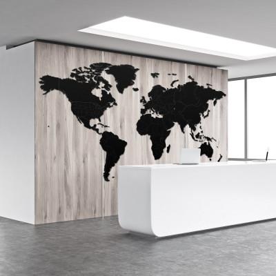 Luxuriose Holz Weltkarte An Die Wand Xxxxl Schwarz Ungewohnliche