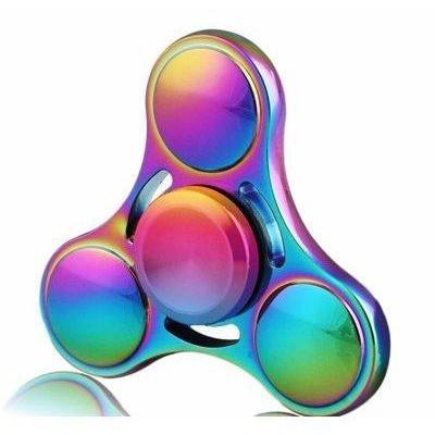 Fidget Spinner - Tri kovový dúhový