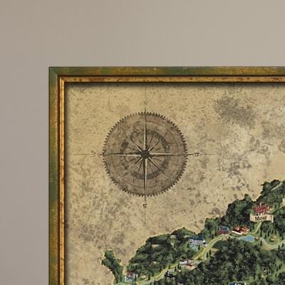 Zarámovaná stírací mapa Česka zlatá