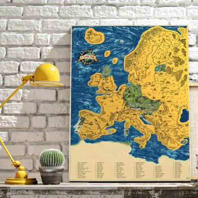 Zarámovaná mapa EVROPY - zlatá