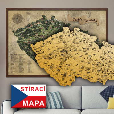 Stírací mapa Česka DELUXE XL