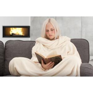 TV deka s rukávy - smetanová