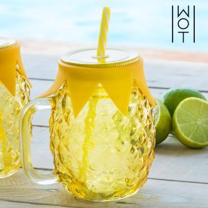 Smoothie sklenice s víčkem a brčkem - Ananas