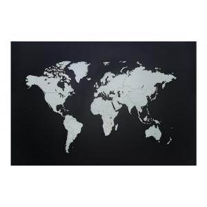 Drevená mapa na stenu biela