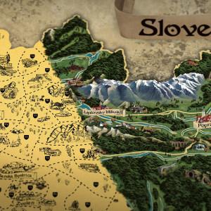 Stírací mapa Slovenska RETRO XL