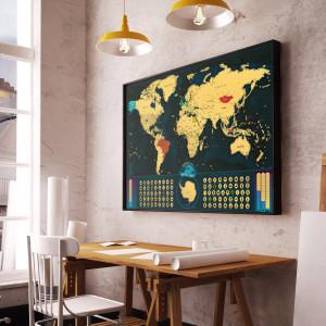 Stírací mapa Svět Deluxe