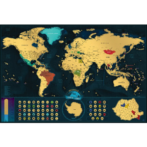 Harta răzuibilă a lumii – Varianta Românească Deluxe XL