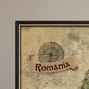 Harta răzuibilă a României în ramă