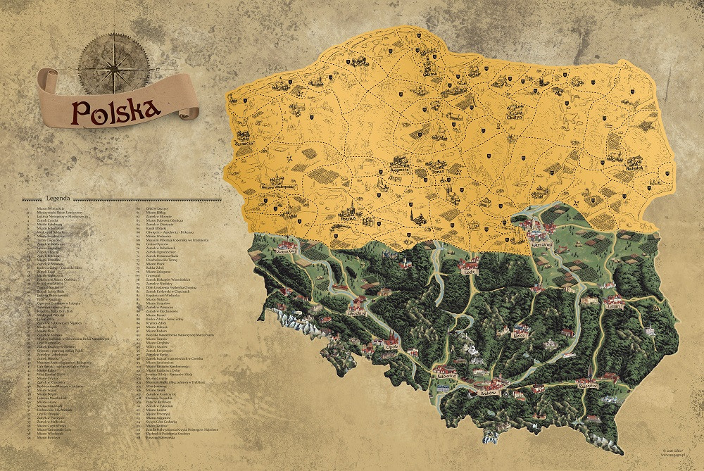 Mapa zdrapka Polski